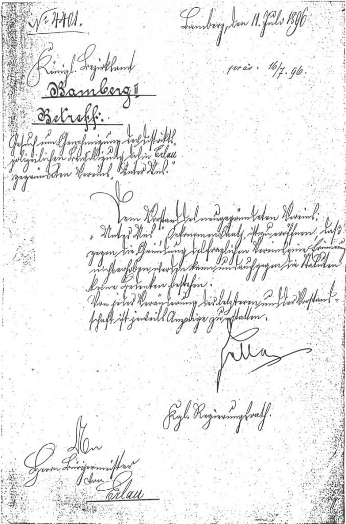 Genehmigung 1896 Königliches Bezirksamt Bamberg II